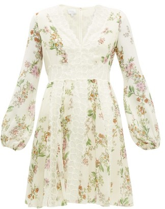 Giambattista Valli Floral Print Lace Insert Silk Dress - Womens - Ivory Multi