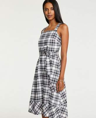 Ann Taylor Petite Plaid Tie Waist Midi Dress