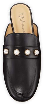 Neiman Marcus Sigmar Flat Napa Leather Loafer Mule