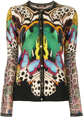 Roberto Cavalli animal pattern stitch cardigan