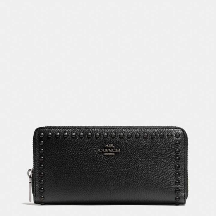 Coach Accordion Zip Wallet With Lacquer Rivets - BLACK/BLACK ANTIQUE NICKEL - STYLE