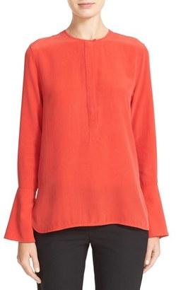 Women's Equipment Kenley Bell Cuff Silk Blouse $238 thestylecure.com