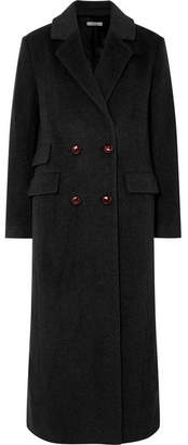 Ganni Mayer Double-breasted Leather-trimmed Wool Coat - Black