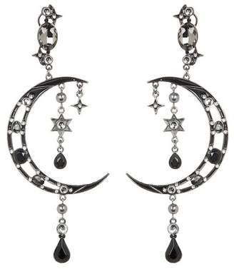 Eye Candy Los Angeles Moon and Star Crystal Dangle Earrings