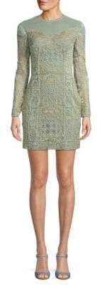 Valentino Long-Sleeve Embroidered Mini Dress
