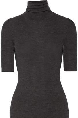 Theory Leenda Ribbed Merino Wool Turtleneck Top - Gray