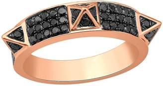 Artisan 18K Gold Spike Ring With Black Pave Diamond