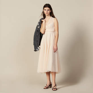 Sandro Long Embroidered Tulle Dress