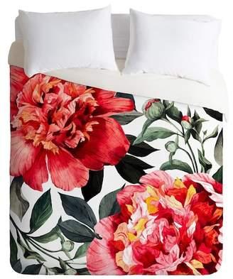 Deny Designs Marta Barragan Camarasa Red Flowers King Duvet Cover