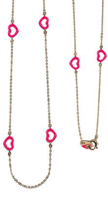 Jordan Askill Pink Glitter Enamel Multi-Heart Necklace