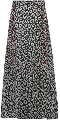 Dolce & Gabbana Leopard Brocade Crystal Button Midi Skirt - Womens - Silver Multi