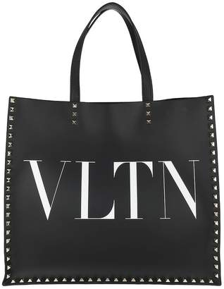 Valentino Rockstud Tote Double Handle Bag Leather Black/White