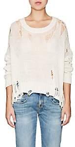 R 13 Women's Shredded Cotton-Blend Crewneck Sweater - Cream