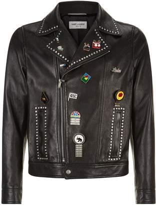 Saint Laurent Leather Pin Embellished Jacket