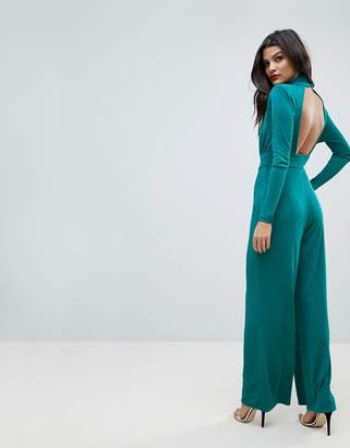 Asos Design Jumpsuit with Wrap Cut Out and Wide Leg in Jersey