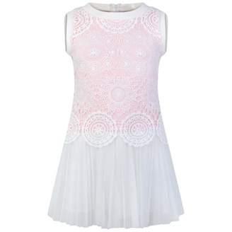 Kate Mack Kate MackGirls Ivory & Pink Crocheted Dress