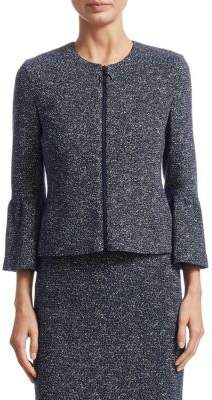 Akris Punto Metallic Bell-Sleeve Zip-Front Jacket