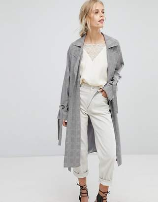 Current Air Check Duster Coat with Tie Sleeve Detail