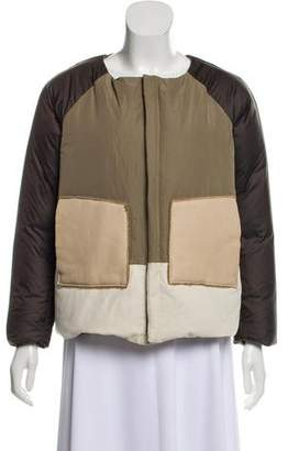 Hache Leather-Accented Down Coat