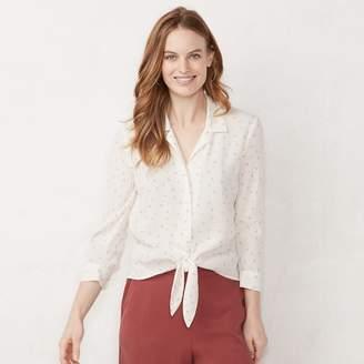 Lauren Conrad Women's Print Tie-Front Shirt