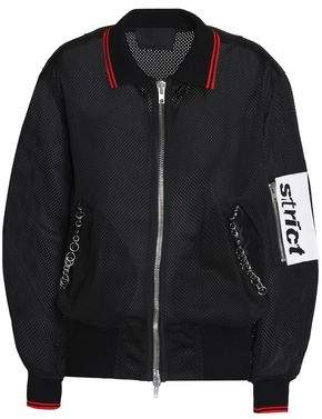 Alexander Wang Faux Leather-Trimmed Embellished Mesh Bomber Jacket
