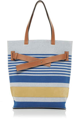 Loewe Canvas And Leather Striped Tote Bag