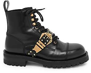 Versace Men's Studded Belt Leather Brogued Boots