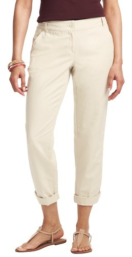 LOFT Petite Julie Linen Cotton Cropped Weekender Chinos