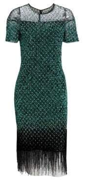 Pamella Roland Women's Signature Beaded Grid Fringe Sheath Dress - Jade - Size 12
