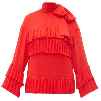 Valentino Tie Neck Ruffle Trimmed Silk Blouse - Womens - Red