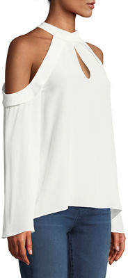 Ramy Brook Martie Cold-Shoulder Bell-Sleeve Crepe de Chine Blouse