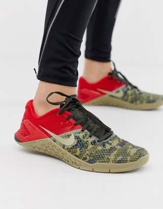 Nike Training metcon 4 sneakers in khaki camo