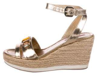 Prada Sport Leather Espadrille Wedges