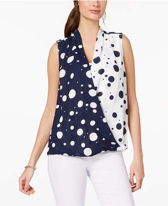 Alfani Printed Sleeveless Surplice Blouse, Created for Macy's