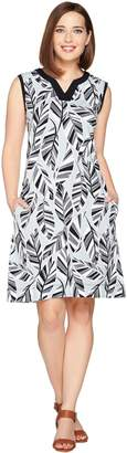 Denim & Co. Printed Sleeveless Dress with Solid Trim