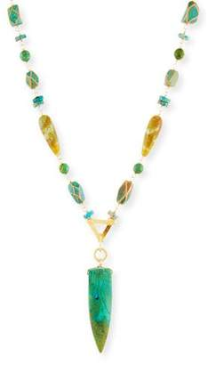 Devon Leigh Turquoise & Jade Beaded Pendant Necklace