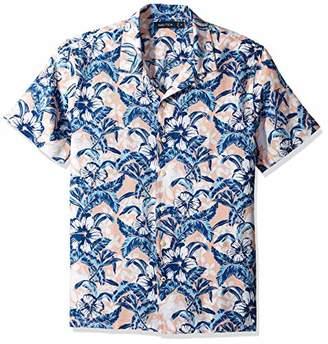 Nautica Men's Short Sleeve Linen Cotton Floral Print Button Down Shirt
