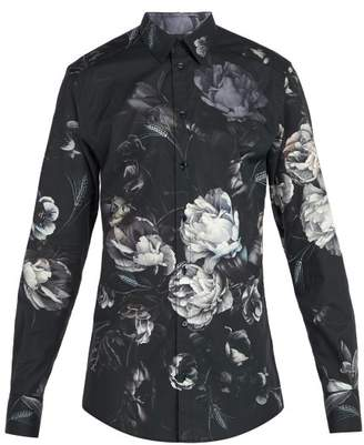 Dolce & Gabbana Floral Print Cotton Shirt - Mens - Grey Multi