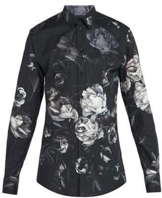 Dolce & Gabbana Floral Print Cotton Shirt - Mens - Grey Multi