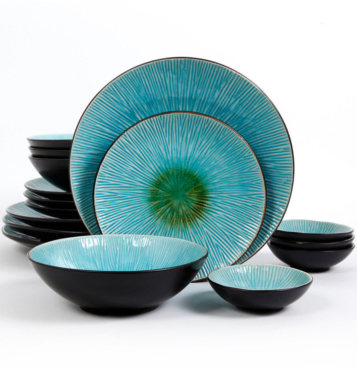 Gibson Shangri-La Court Turquoise Double Bowl 16-Pc. Set, Service for 4