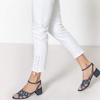 a287f98c3e6b La Redoute COLLECTIONS Denim Sandals with Floral Embroidery