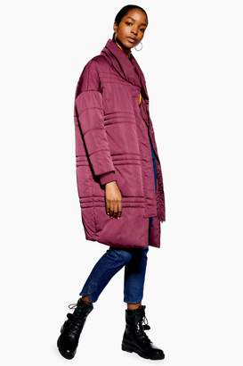 NATIVE YOUTH Womens **Longline Puffer Jacket By Burgundy