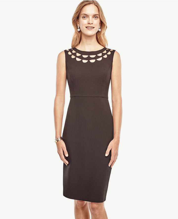 Ann Taylor Cutout Scalloped Dress