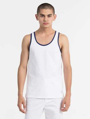 Calvin Klein regular fit piped cotton tank top