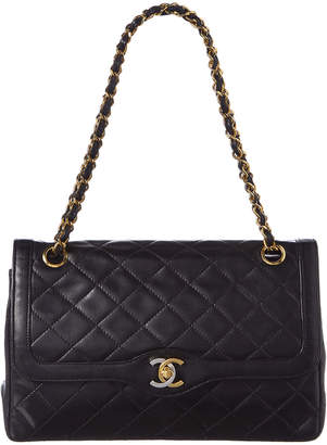 Chanel Black Quilted Lambskin Leather Paris Limited Double Flap Bag