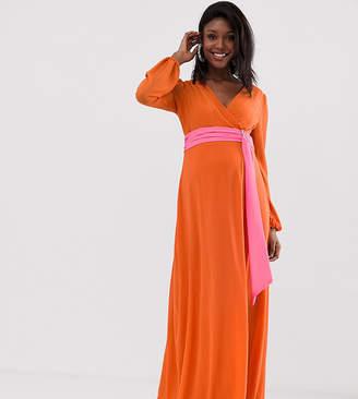 TFNC Maternity Maternity wrap maxi dress with contrast waistband in orange
