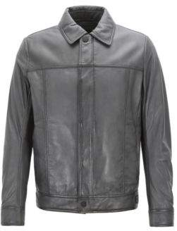 BOSS Hugo Slim-fit trucker-style jacket in waxed lambskin leather 38R Open Blue