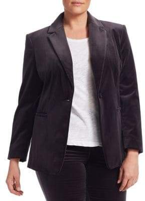 Marina Rinaldi Marina Rinaldi, Plus Size Marina Rinaldi, Plus Size Women's Carnet Stretch Velvet Blazer - Dark Grey - Size 16W