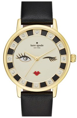 Women's Kate Spade New York 'Metro - Kiss' Leather Strap Watch, 34Mm $195 thestylecure.com