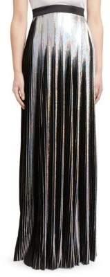 Balmain Holographic Pleated Maxi Skirt